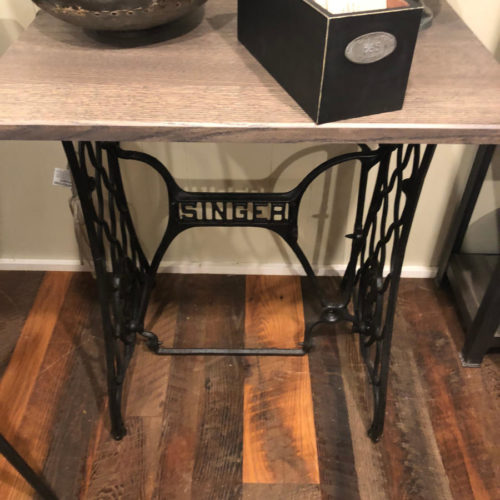 Side Table/Console with Antique Singer Sewing Machine Base and Rift Sawn White Oak Top with Driftwood Stain