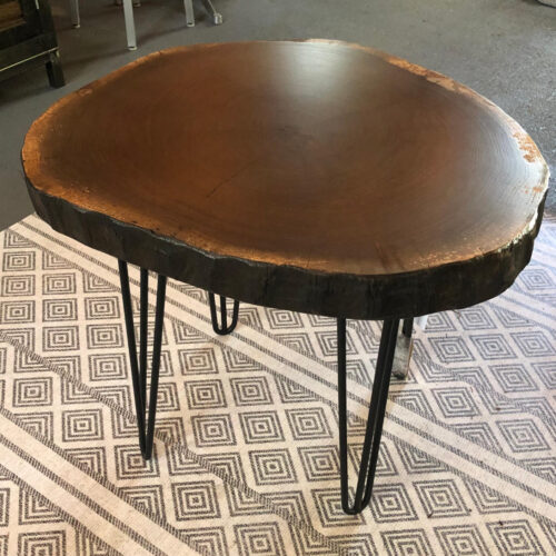 """Side Table: Walnut """"cookie"""" Slab with Hairpin Legs"""