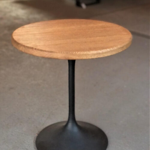 Side Table with Oak Top and Mid-Century Modern Base