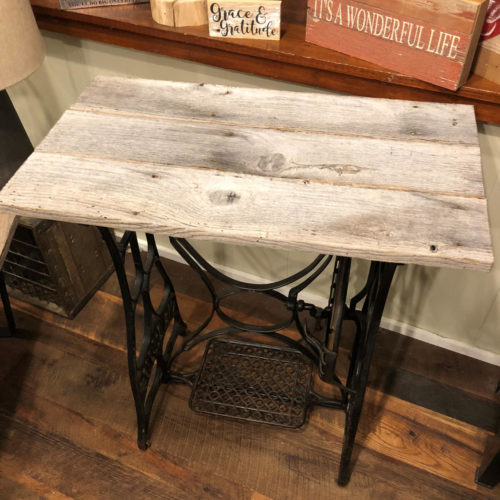 Side Table with Reclaimed Granary Oak Top and Vintage Sewing Machine Base
