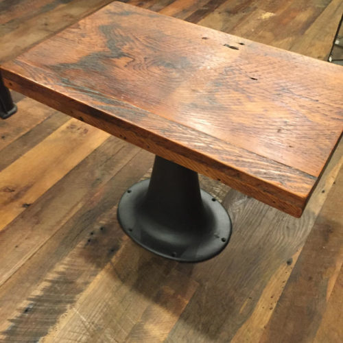Side Table with Reclaimed Pine Top and Vintage Cast Iron Base