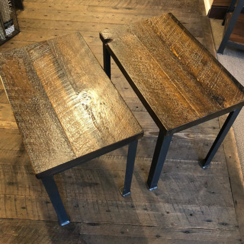 Side Table with Reclaimed Weathered White Pine Top and Steel Base- sold individually