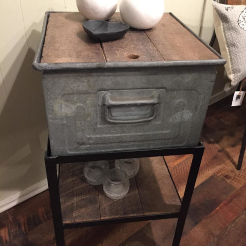 Side Table with Vintage Galvanized Box, Steel Frame and Reclaimed Oak Top
