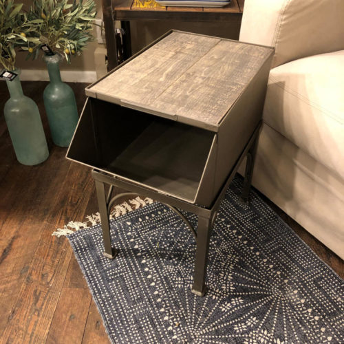 Side Table with Vintage Industrial Stacking Bin and Reclaimed Poplar Top