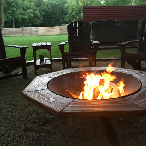 Steel Fire Pit with Reclaimed Wood Perimeter