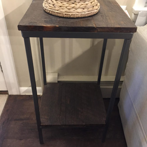 Tall Plant Stand Side Table in Weathered White Pine with Steel Frame