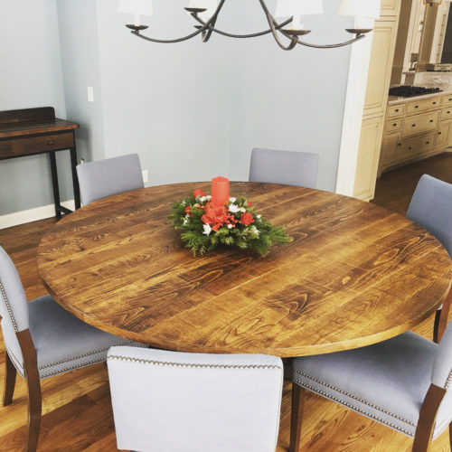 Dining Table in Reclaimed Rough Sawn White Oak with Oak Beam Base