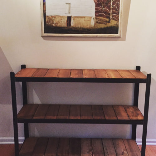 Three Tier Shelving Unit with Angle Iron Frame and Reclaimed Pine