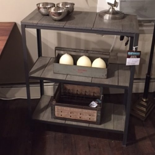 Three Tier Shelving Unit with Reclaimed Gray Barnwood and Metal Base