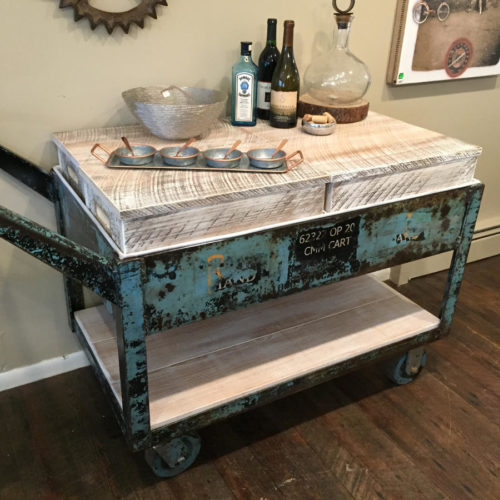 Vintage Industrial Cart Refurbished into Rolling Bar Cart