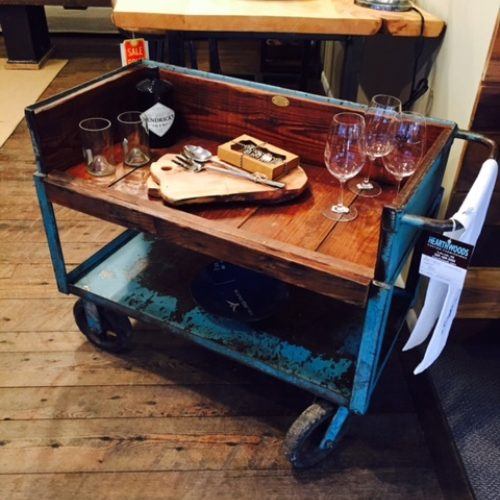 Vintage Industrial Cart Refurbished into Rolling Bar