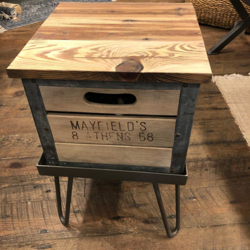 Vintage Milk Crate Side Table with Hairpin Legs