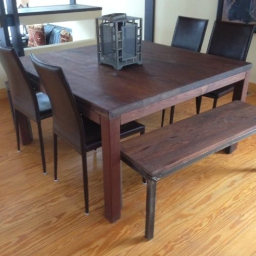 Walnut Dining Table and Bench with Steel Base