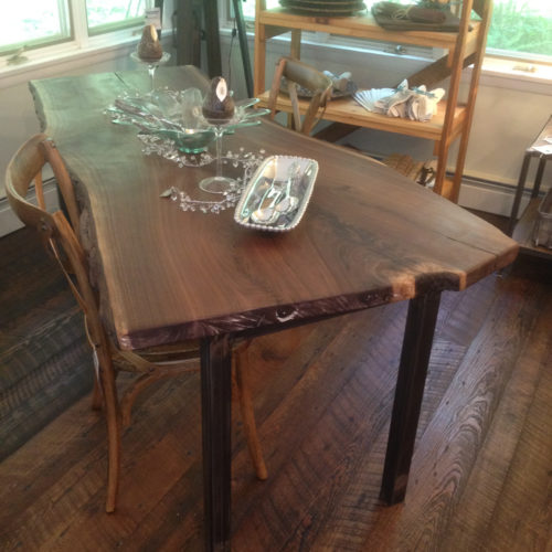 Dining Table with Natural Edge Walnut Slab and Tubular Steel Base