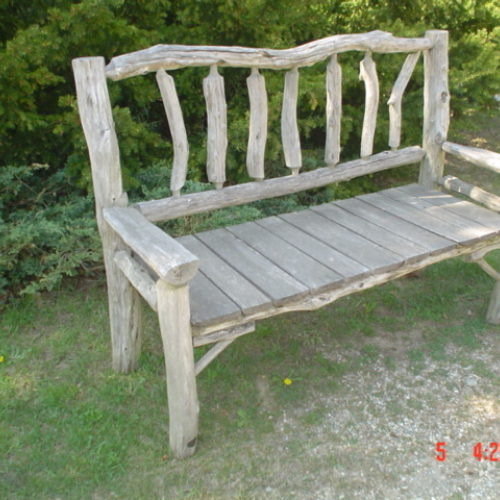 Weathered Garden Bench in Ancient Black Locust and Osage Orange Seat Planks