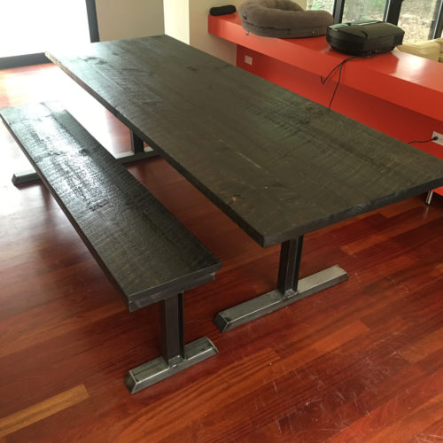 Dining Table and Bench in Weathered White Pine with Steel I-beam Base